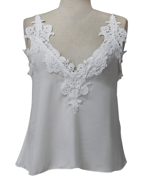 sale Solid Color Lace Sleeveless Tank Top - WHITE M