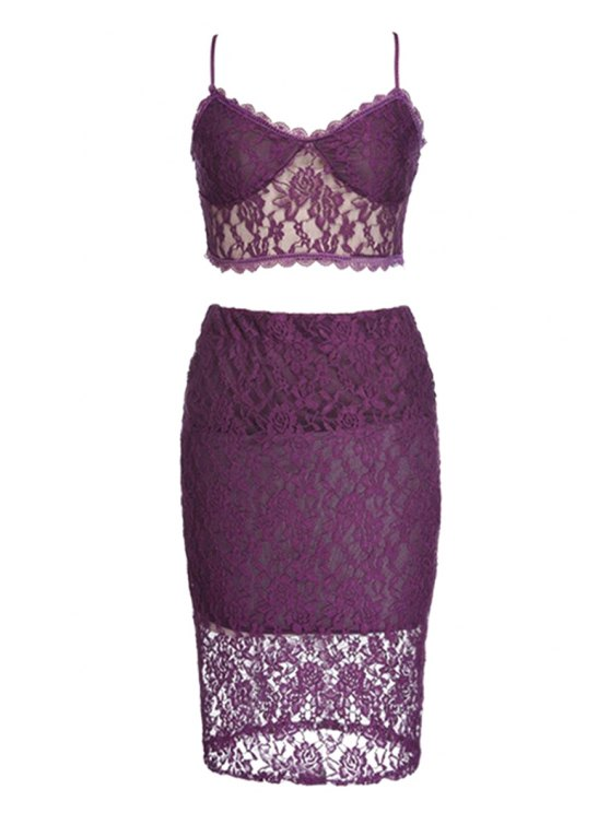 ladies Spaghetti Strap Lace Tank Top + Skirt - PURPLE M
