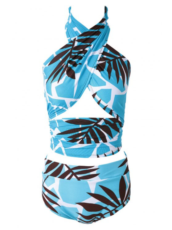 shops Leaf Print High Waisted Bikini Set - BLUE M