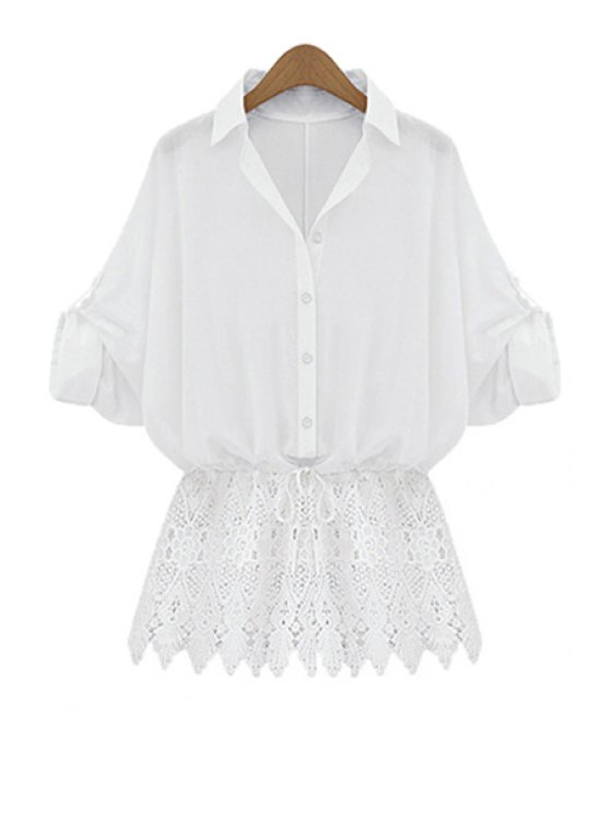 shops Lace Splicing Tie-Up Long Sleeve Shirt - WHITE S