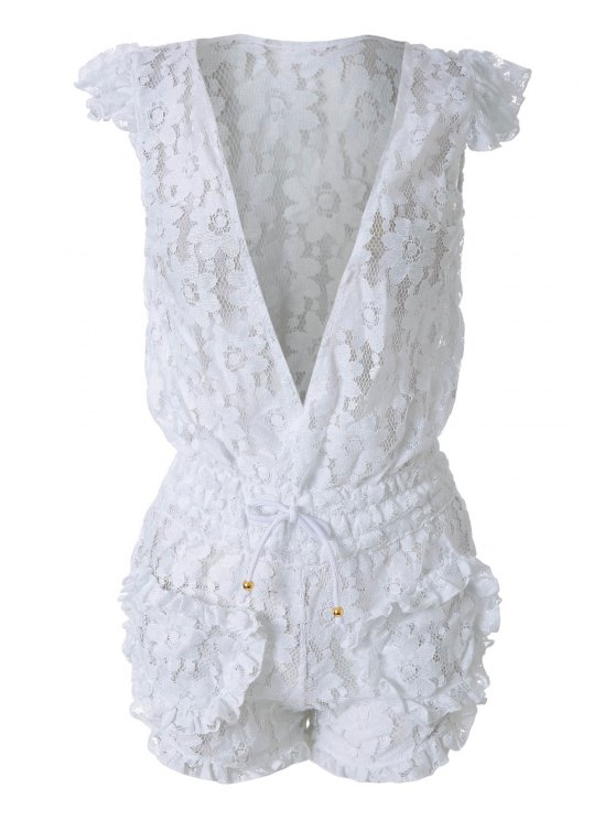outfits White Lace Plunging Neck Rompers - WHITE S
