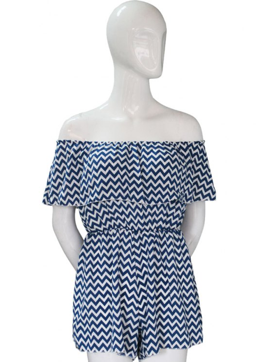 shop Slash Neck Stripe Short Sleeve Romper - BLUE AND WHITE S