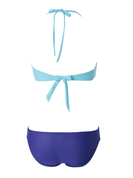 Openwork Bandage Bikini Set - GREEN M Mobile