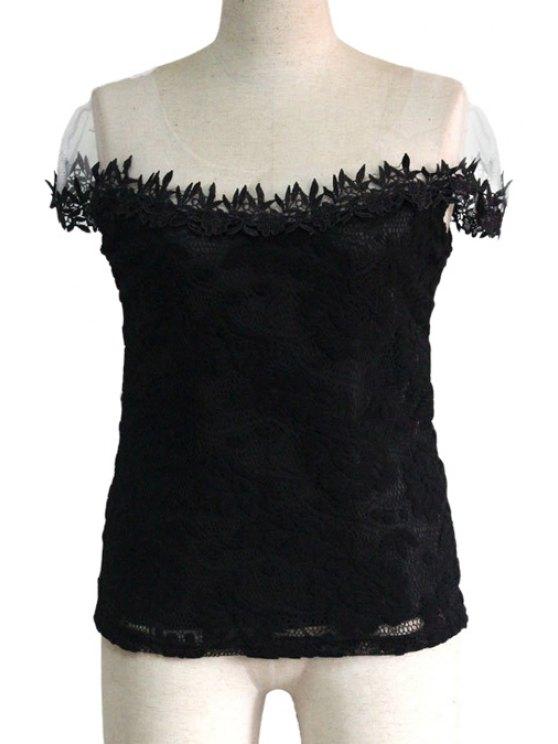 ladies Slash Neck Lace Openwork T-Shirt - BLACK M