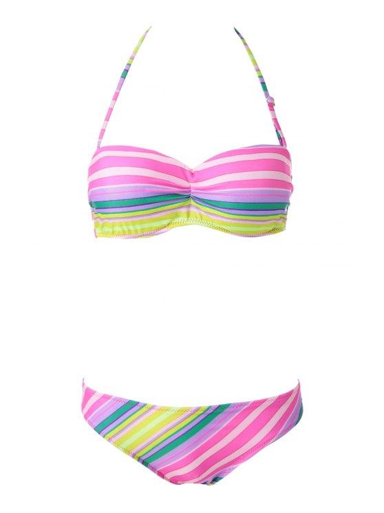 Strapless rayado colorido Bikini Set - Raya L
