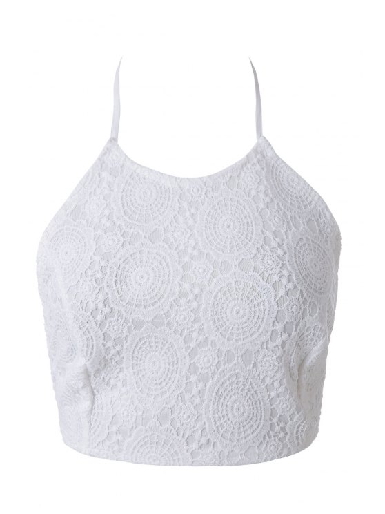 buy Solid Color Lace Tank Top - WHITE S