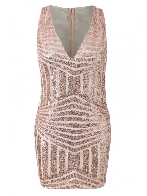 new Plunging Neck Sequins Dress - GOLDEN S