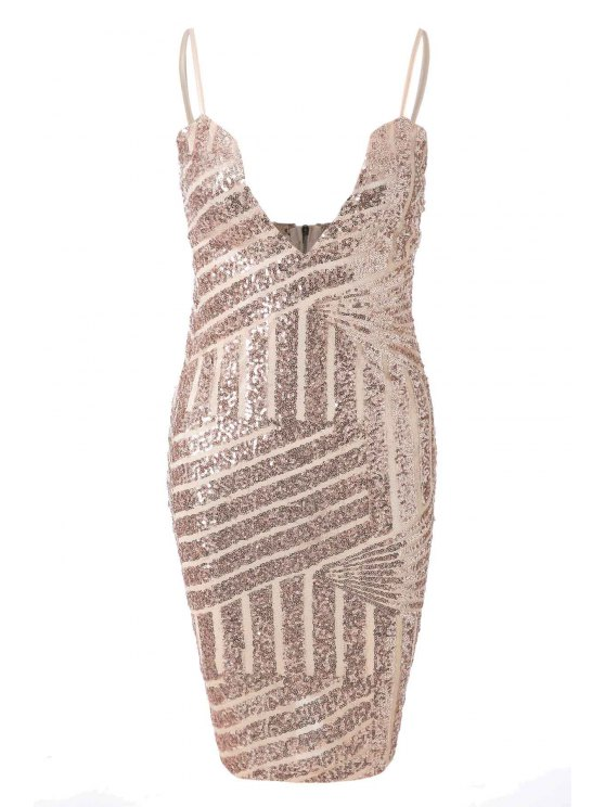 latest Spaghetti Strap Sequin Sleeveless Dress - GOLDEN S