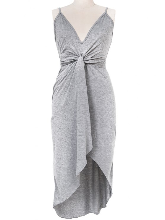 sale Solid Color High-Low Hem Spaghetti Straps Dress - GRAY S
