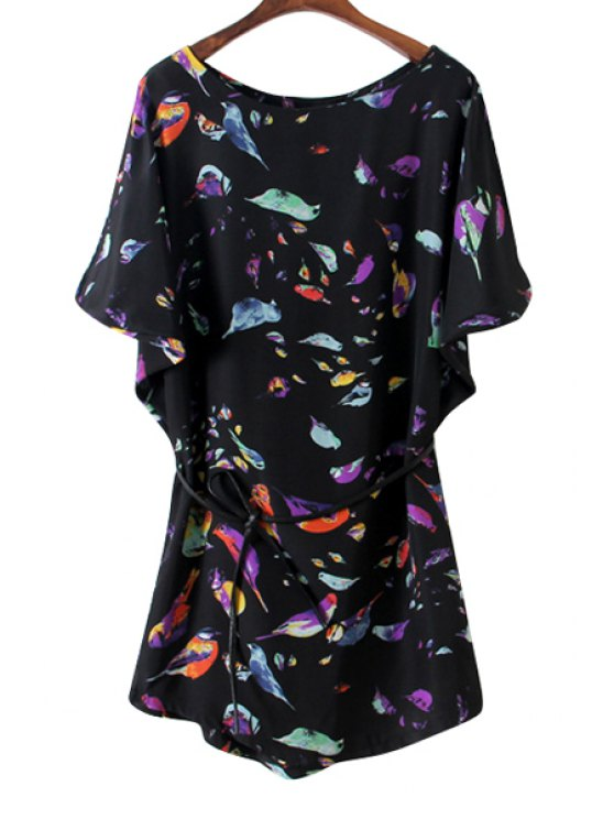 chic Colorful Birds Print Batwing Sleeve Dress - BLACK S