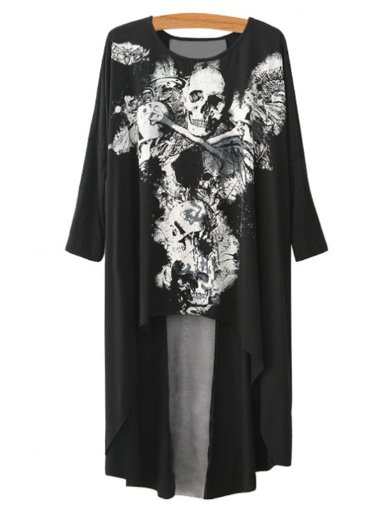 outfit Skull Print Asymmetrical Long Sleeve T-Shirt - BLACK S