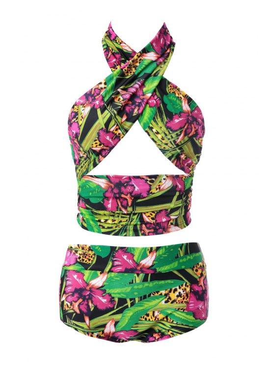 latest Floral Print High Waisted Bikini Set - 07# M