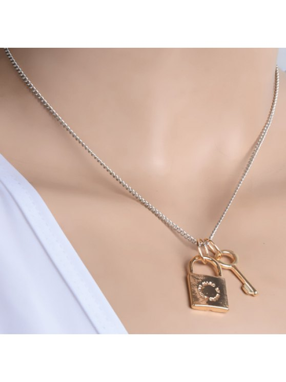 fancy Simple Lock Key Pendant Design Necklace For Women - AS THE PICTURE