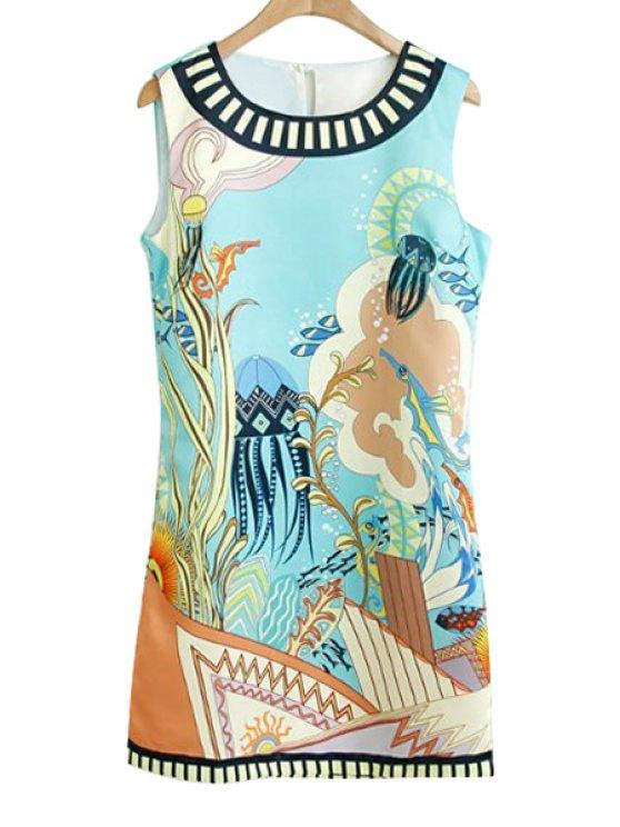 shops Fish Plant Print Sleeveless Dress - WHITE M