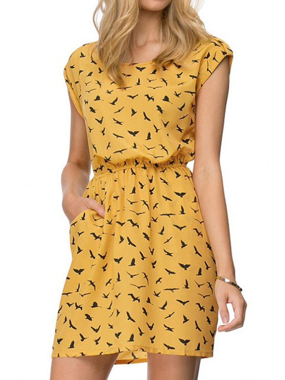 women's Full Sea Gull Print Dress - ORANGE XS