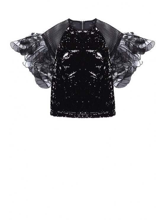 trendy Sequins Mesh Flounce Splicing Short Sleeve T-Shirt - BLACK ONE SIZE(FIT SIZE XS TO M)