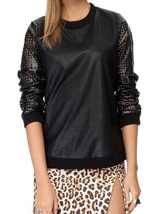 ladies PU Leather Hollow Spliced Sweatshirt - BLACK XS