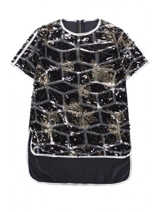 fancy Sequins Argyle Pattern Asymmetrical T-Shirt - BLACK ONE SIZE(FIT SIZE XS TO M)