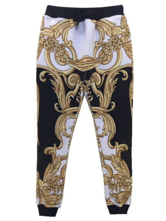 lady Color Block Print Elastic Waist Pants - COLORMIX ONE SIZE(FIT SIZE XS TO M)