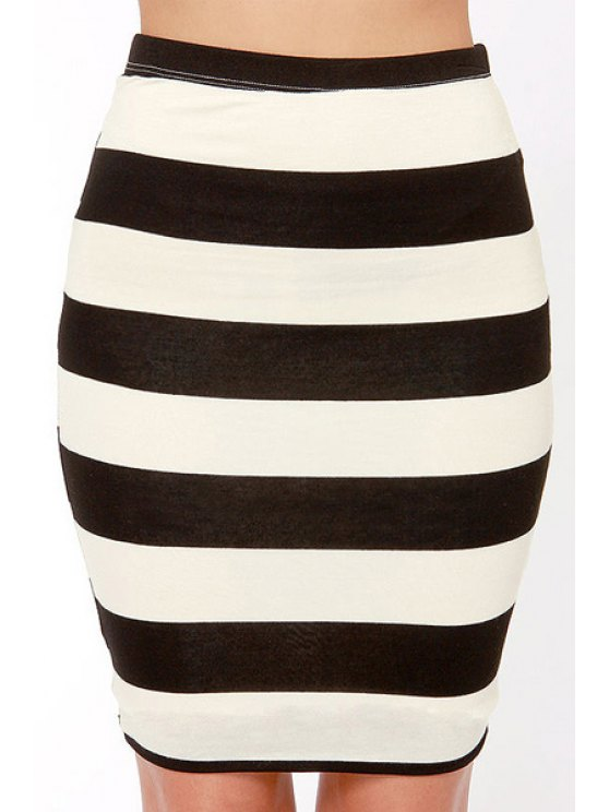 outfits Striped High Waisted Bodycon Skirt - STRIPE XS