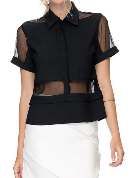 outfits Voile Spliced Short Sleeve Shirt - BLACK XS