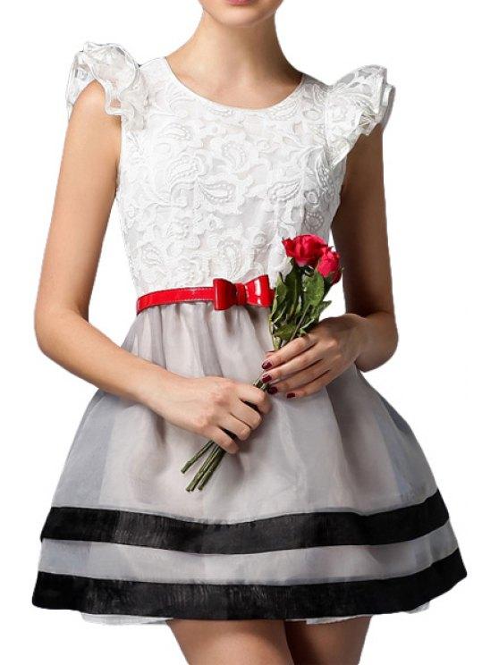 unique Lace Flounce Splicing Belt Dress - WHITE S
