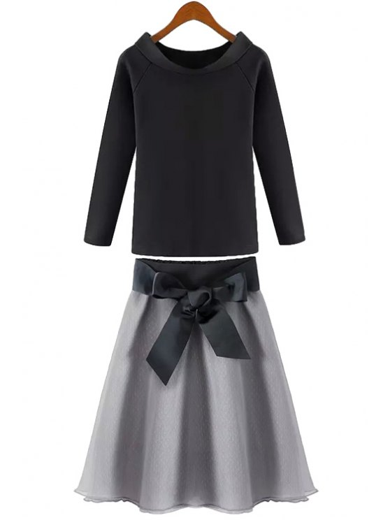 ladies Solid Color Long Sleeve T-Shirt + Tie-Up Chiffon Skirt - BLACK AND GREY S