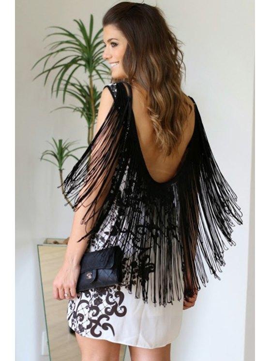 shops Floral Print Tassels Sleeveless Dress - WHITE AND BLACK S