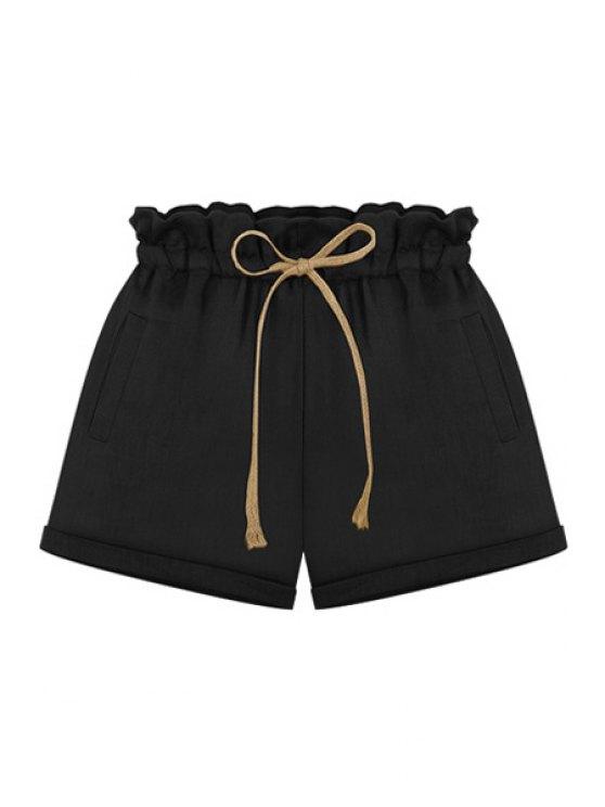 sale Tie-Up Flounce Elastic Waist Shorts - BLACK S