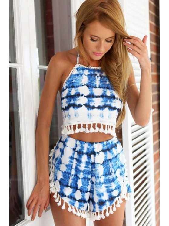 affordable Print Tassels Crop Top and Shorts Suit - BLUE S