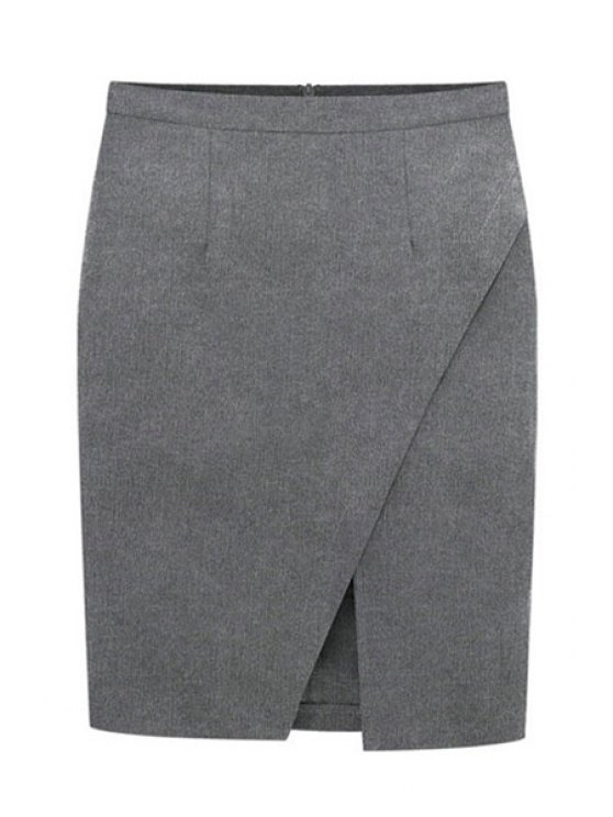 latest Solid Color Slit Back Zipper Skirt - GRAY S