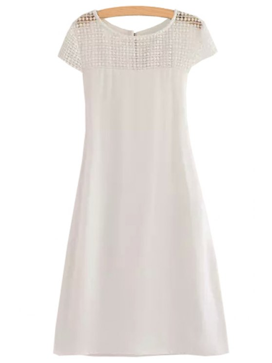 womens Shoulder Lace Splicing Openwork Tie-Up Dress - WHITE S