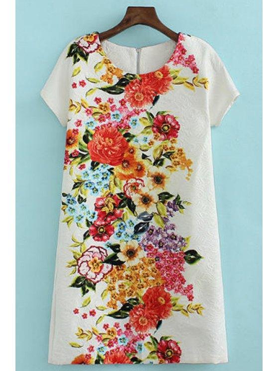 shops Colorful Floral Print Back Zipper Dress - WHITE S