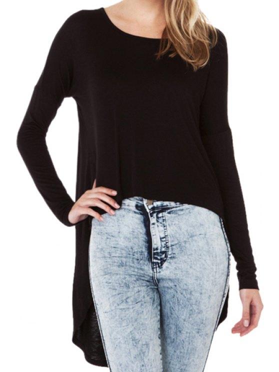 sale Asymmetrical Solid Color Long Sleeve T-Shirt - BLACK XS