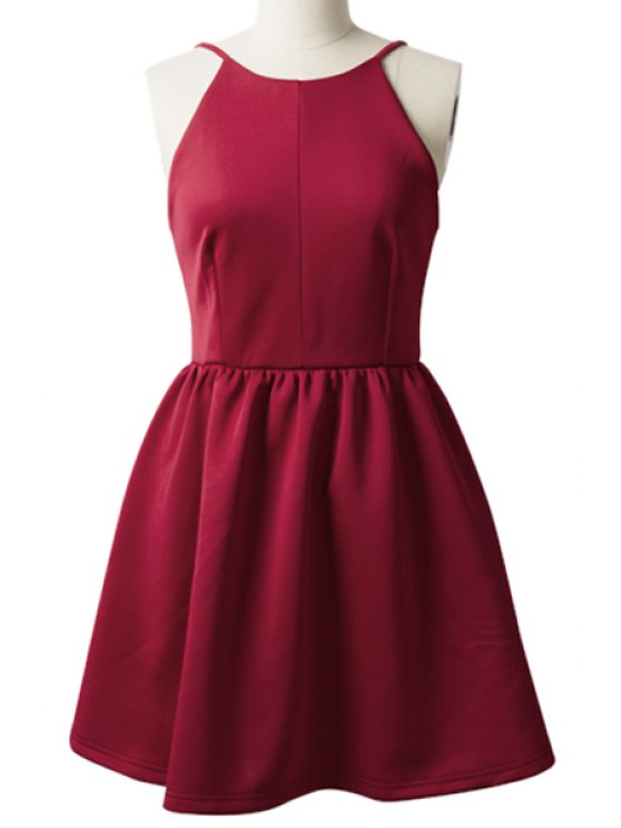 sale Solid Color Backless A-Line Dress - WINE RED L