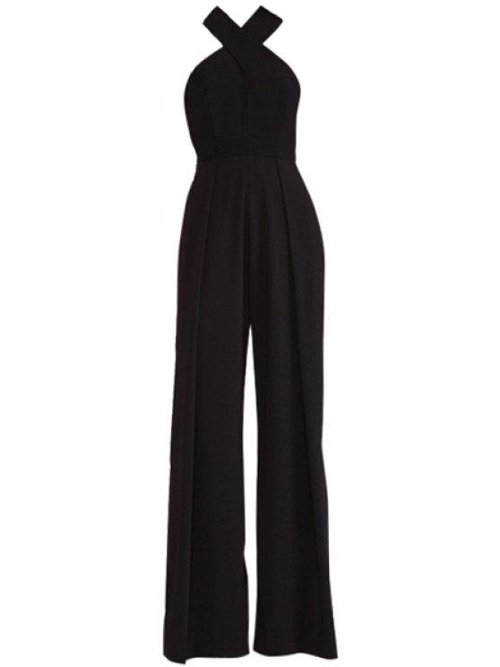 ladies Cross Backless Solid Color Jumpsuit - BLACK XS