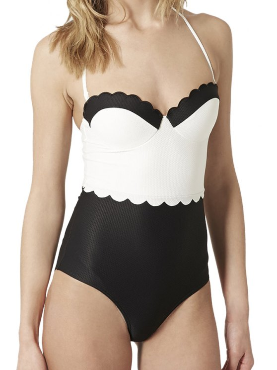 online Color Block Wavy Hem One-Piece Swimwear - WHITE AND BLACK XS