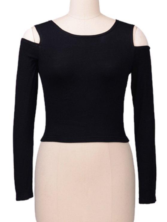 ladies Off-The-Shoulder Solid Color Long Sleeve T-Shirt - BLACK S