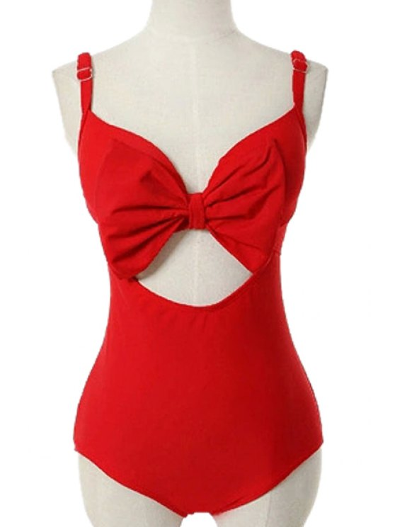 outfits Openwork Bowknot Solid Color One-Piece Swimwear - RED M