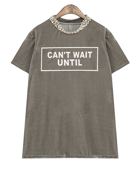 best Letter Print Beaded Short Sleeve T-Shirt - GRAY ONE SIZE(FIT SIZE XS TO M)