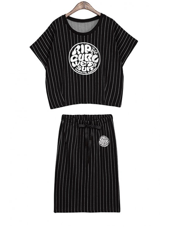 outfits Short Sleeve T-Shirt and Striped Skirt Suit - BLACK ONE SIZE(FIT SIZE XS TO M)