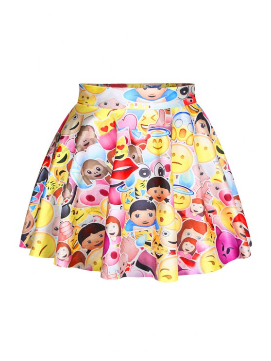 womens Colorful Emoji Print Elastic Skirt - YELLOW ONE SIZE(FIT SIZE XS TO M)