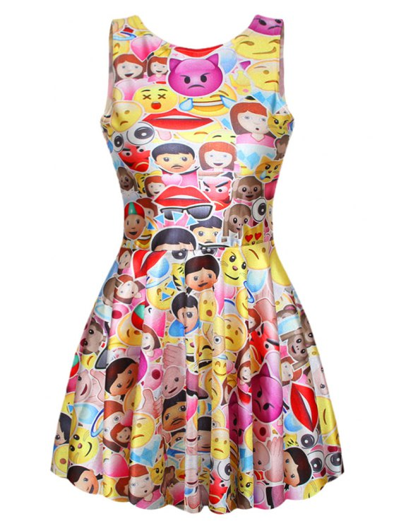 unique Colorful Emoji Print Sleeveless Dress - YELLOW ONE SIZE(FIT SIZE XS TO M)