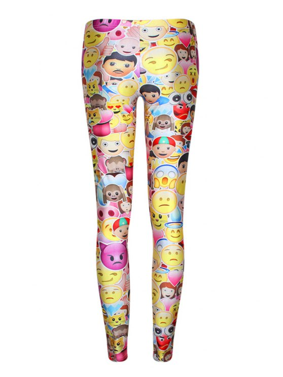 latest Colorful Emoji Print Elastic Waist Leggings - YELLOW ONE SIZE(FIT SIZE XS TO M)