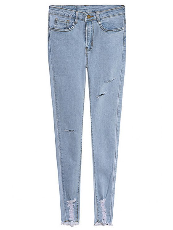 hot Solid Color Broken Hole Skinny Jeans - LIGHT BLUE S