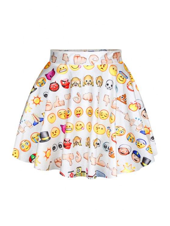 women Emoji Print Skirt - WHITE ONE SIZE(FIT SIZE XS TO M)