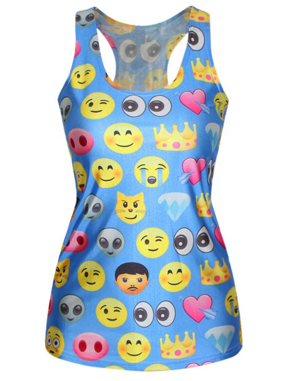 trendy Blue Emoji Print Racerback Tank Top - BLUE ONE SIZE(FIT SIZE XS TO M)