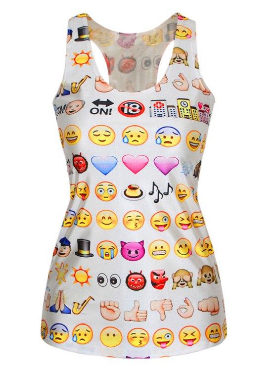 women's Racerback Emoji Print Tank Top - YELLOW ONE SIZE(FIT SIZE XS TO M)