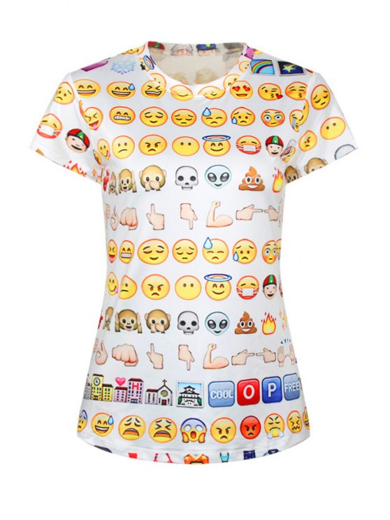 outfit Emoji Print Short Sleeve T-Shirt - WHITE ONE SIZE(FIT SIZE XS TO M)