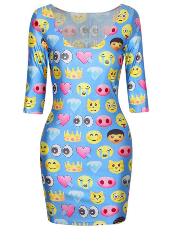 chic Emoji Print Blue Half Sleeve Bodycon Dress - BLUE ONE SIZE(FIT SIZE XS TO M)